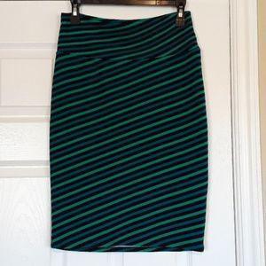 Super Fun Stripe Pencil Skirt Blue Green and Black